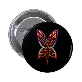 Butterfly Woman three D Pinback Button
