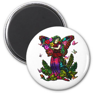 Butterfly Woman with Flowers and Butterflies 2 Inch Round Magnet