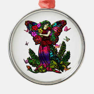 Butterfly Woman with Flowers and Butterflies Round Metal Christmas Ornament