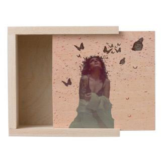 Butterfly Woman Wooden Keepsake Box