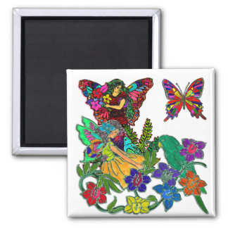 Butterfly Women Birds Floral 2 Inch Square Magnet
