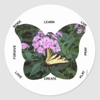 Butterfly Words to Live By Classic Round Sticker