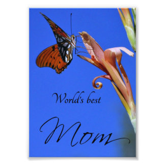 """Butterfly """"World's Best Mom"""" Photo Print"""