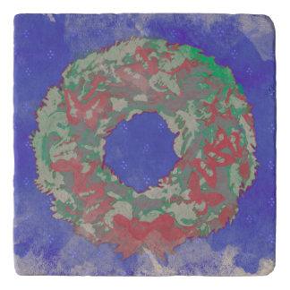 """Butterfly Wreath"" Christmas Stone Trivet (RGB)"