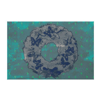 """Butterfly Wreath"" Holiday Canvas Print (GreyTeal)"