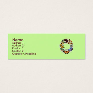 Butterfly Wreath lime-chocolate -skinny  Business  Mini Business Card