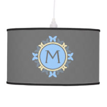 Butterfly Wreath Monogram Blue Yellow Gray Pendant Lamp