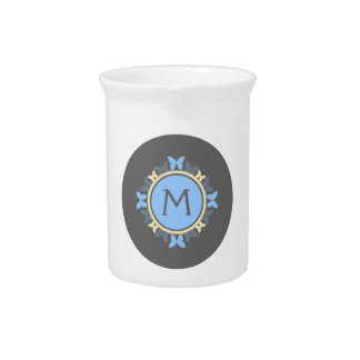 Butterfly Wreath Monogram Blue Yellow Gray Pitchers