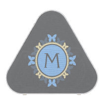 Butterfly Wreath Monogram Blue Yellow Gray Speaker