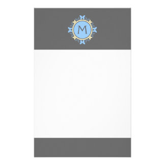 Butterfly Wreath Monogram Blue Yellow Gray Stationery