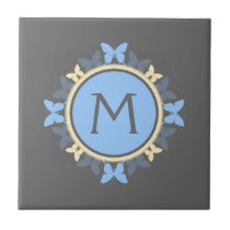 Butterfly Wreath Monogram Blue Yellow Gray Tile