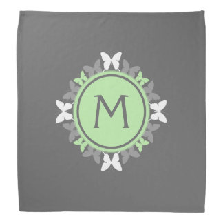Butterfly Wreath Monogram White Bright Green Gray Bandana