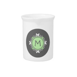 Butterfly Wreath Monogram White Bright Green Gray Beverage Pitchers