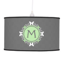 Butterfly Wreath Monogram White Bright Green Gray Ceiling Lamp