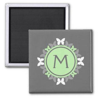 Butterfly Wreath Monogram White Bright Green Gray Magnet