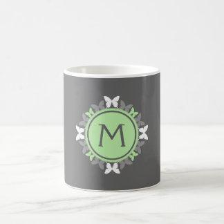 Butterfly Wreath Monogram White Bright Green Gray Coffee Mugs