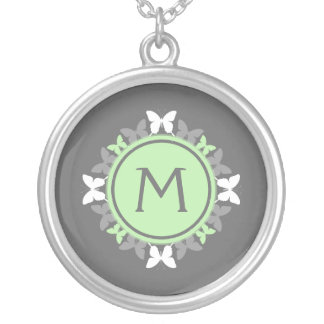 Butterfly Wreath Monogram White Bright Green Gray Silver Plated Necklace