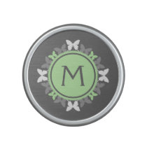Butterfly Wreath Monogram White Bright Green Gray Speaker