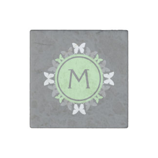 Butterfly Wreath Monogram White Bright Green Gray Stone Magnet