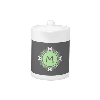 Butterfly Wreath Monogram White Bright Green Gray Teapot