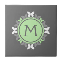 Butterfly Wreath Monogram White Bright Green Gray Tile