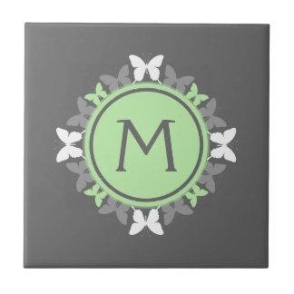 Butterfly Wreath Monogram White Bright Green Gray Tile