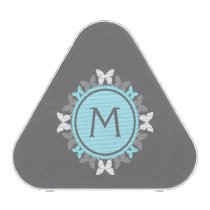 Butterfly Wreath Monogram White Ice Blue Gray Bluetooth Speaker