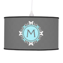 Butterfly Wreath Monogram White Ice Blue Gray Ceiling Lamp