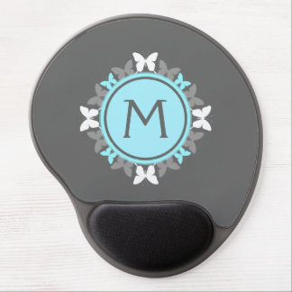 Butterfly Wreath Monogram White Ice Blue Gray Gel Mouse Pad