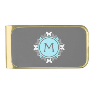 Butterfly Wreath Monogram White Ice Blue Gray Gold Finish Money Clip