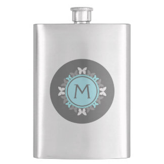 Butterfly Wreath Monogram White Ice Blue Gray Hip Flask