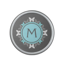 Butterfly Wreath Monogram White Ice Blue Gray Speaker