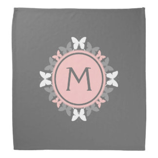 Butterfly Wreath Monogram White Rose Pink Gray Bandana