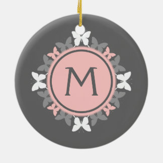 Butterfly Wreath Monogram White Rose Pink Gray Ceramic Ornament