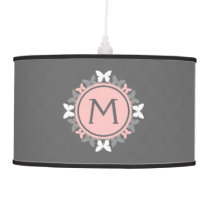 Butterfly Wreath Monogram White Rose Pink Gray Hanging Lamp