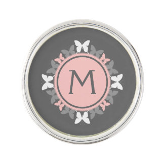 Butterfly Wreath Monogram White Rose Pink Gray Lapel Pin