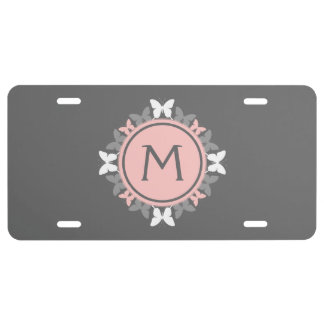 Butterfly Wreath Monogram White Rose Pink Gray License Plate