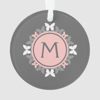 Butterfly Wreath Monogram White Rose Pink Gray Ornament