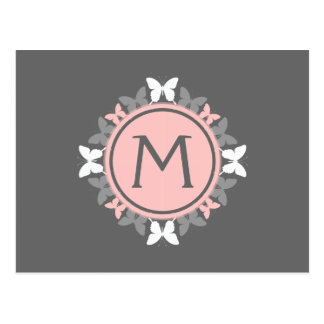 Butterfly Wreath Monogram White Rose Pink Gray Postcard