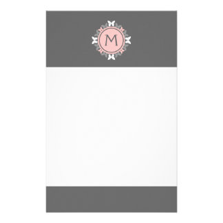 Butterfly Wreath Monogram White Rose Pink Gray Stationery