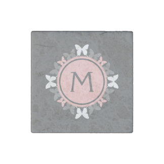 Butterfly Wreath Monogram White Rose Pink Gray Stone Magnet