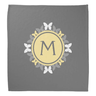 Butterfly Wreath Monogram White Yellow Gray Bandana