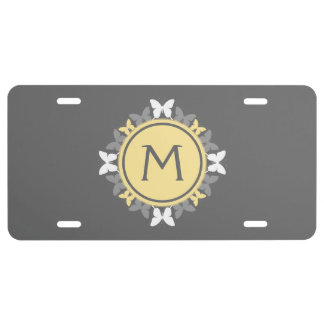 Butterfly Wreath Monogram White Yellow Gray License Plate