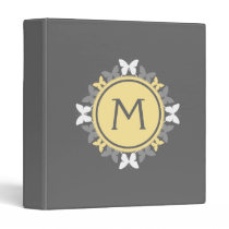 Butterfly Wreath Monogram White Yellow Gray Plate 3 Ring Binder