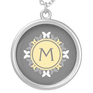Butterfly Wreath Monogram White Yellow Gray Silver Plated Necklace