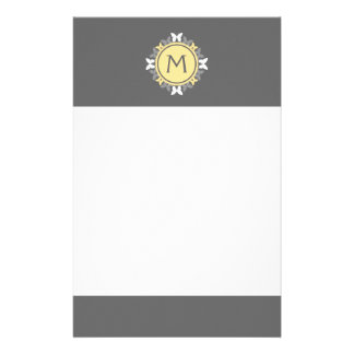 Butterfly Wreath Monogram White Yellow Gray Stationery