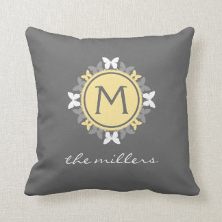 Butterfly Wreath Monogram White Yellow Gray Throw Pillow