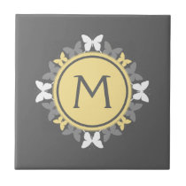 Butterfly Wreath Monogram White Yellow Gray Tile