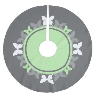 Butterfly Wreath White And Bright Green On Gray Brushed Polyester Tree Skirt