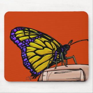 Butterfly-yel Mouse Pad